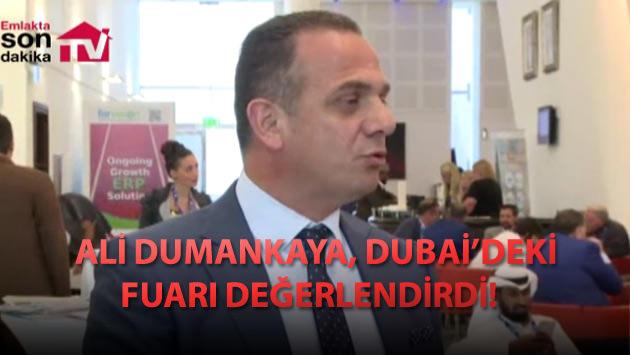 Ali Dumankaya Dubai Fuarı'nda açıklama yapıyor