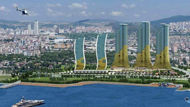 Farklı mimariye sahip bloklardan oluşan istmarine projesinin deniz tarafından görüntüsü