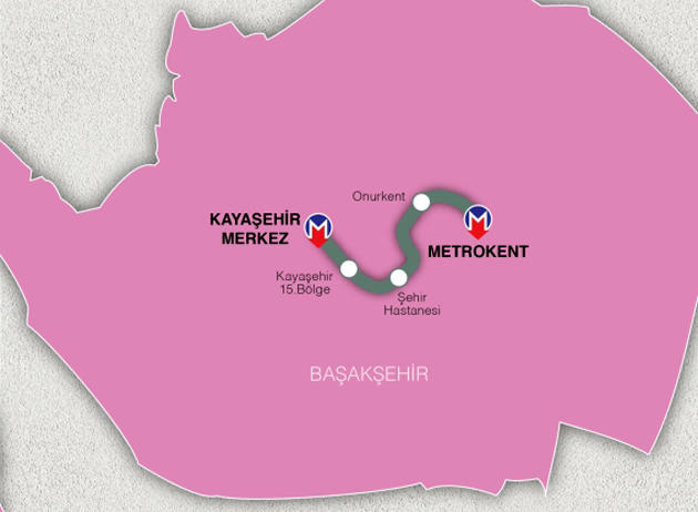 başakşehir kayaşehir merkez metrokent metrosu güzergahı ve durakları
