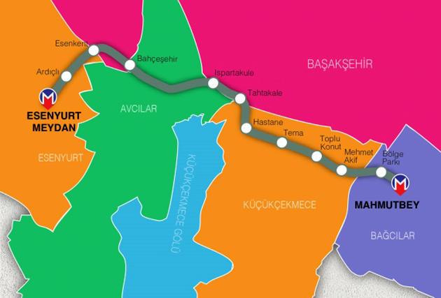 mahmutbey-bahçeşehir-ıspartakule-esenyurt metrosunun güzergahı ve durakları