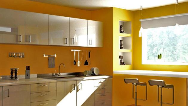 sarı boyalı mutfak