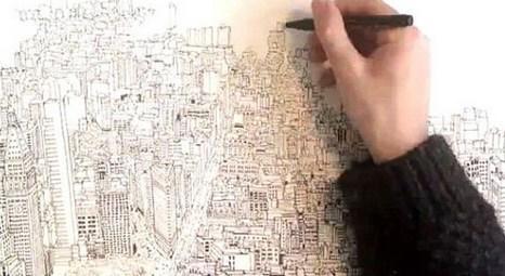 Patrick Vale, Empire State binasından New York manzarasını çizdi!