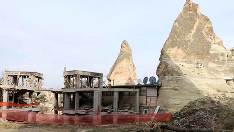 Kapadokya'daki otel inşaatında yıkım başladı!