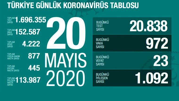 koronavirüs 20 mayıs