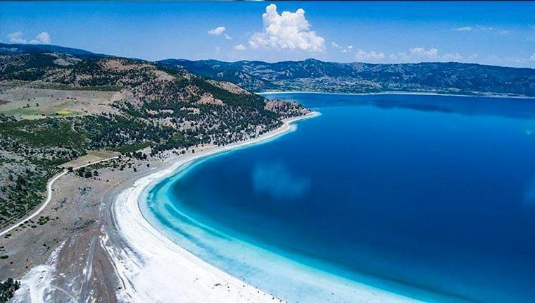 salda gölünün  havadan fotoğrafı