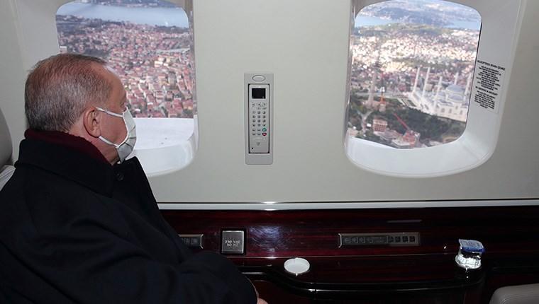 Başkan Erdoğan, Çamlıca TV ve Radyo Kulesi'ni havadan inceledi