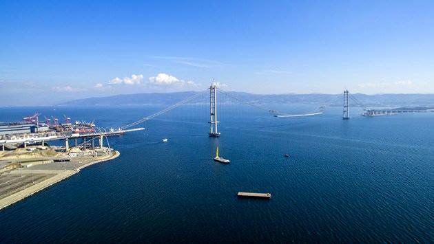 İşte İzmit Körfez Geçişi Asma Köprüsü'nün havadan görüntüsü
