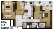 Park Avenue projesinin 147 metrekare alana sahip kat bahçeli 3+1 dairesinin kat planı