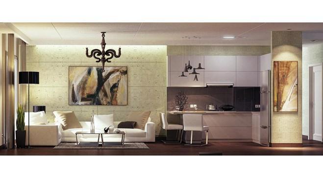 nlogo istanbul projesinin oturma odası ile amerikan tipi mutfağı