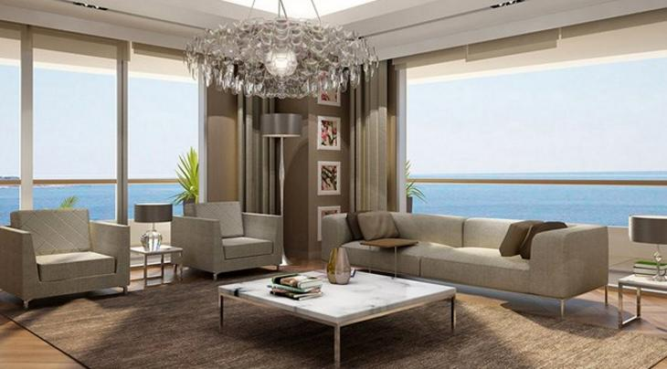 mistral izmir projesinin deniz manzaralı oturma odası