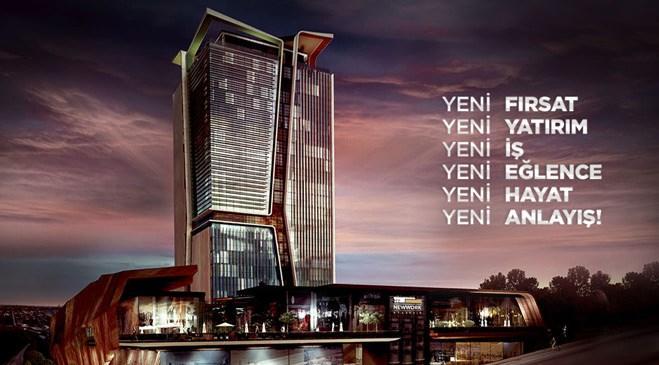 ağaoğlu new work ataşehir projesinin gece görüntüsü