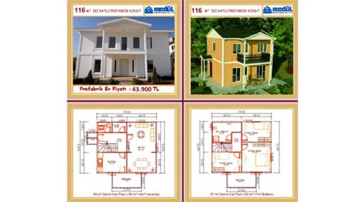 çift katlı prefabrik villa modelleri