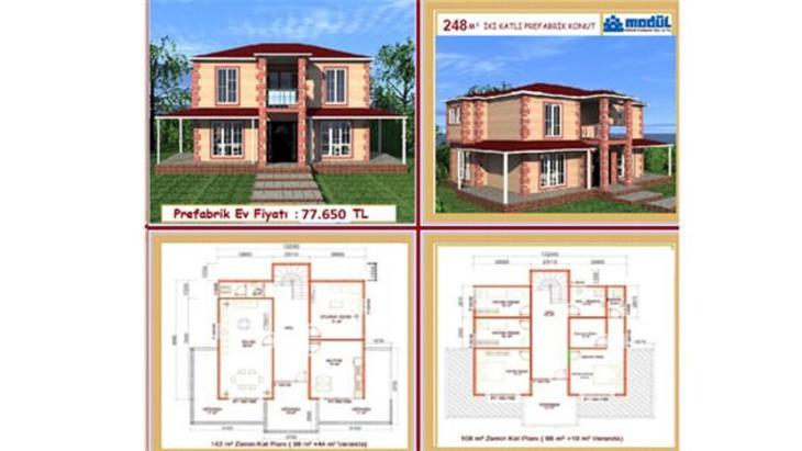 iki katlı prefabrik evlerin fiyatları 2015