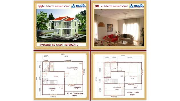 iki katlı prefabrik ev fiyatları 2015