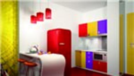 renkli dekore edilmiş bir stüdyo daire