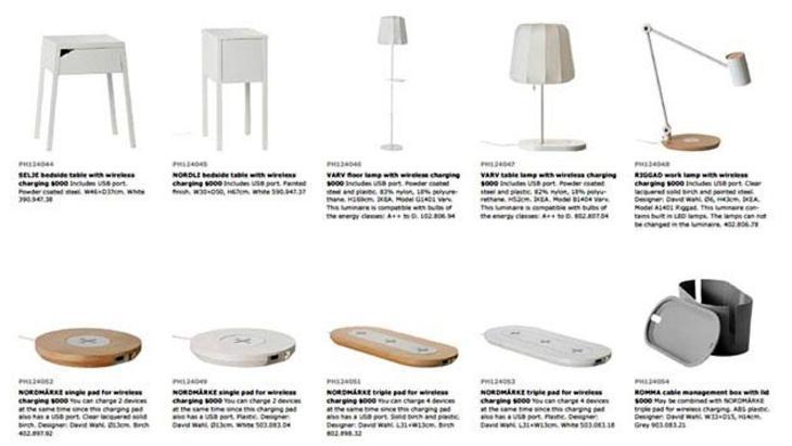 Ikea'dan kablosuz şarj eden mobilyalar