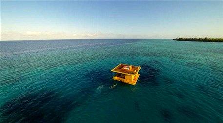 Deniz altında etkileyici otel odası!