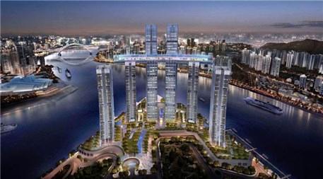 Singapur'da The Conservatory binası inşaatından görüntüler