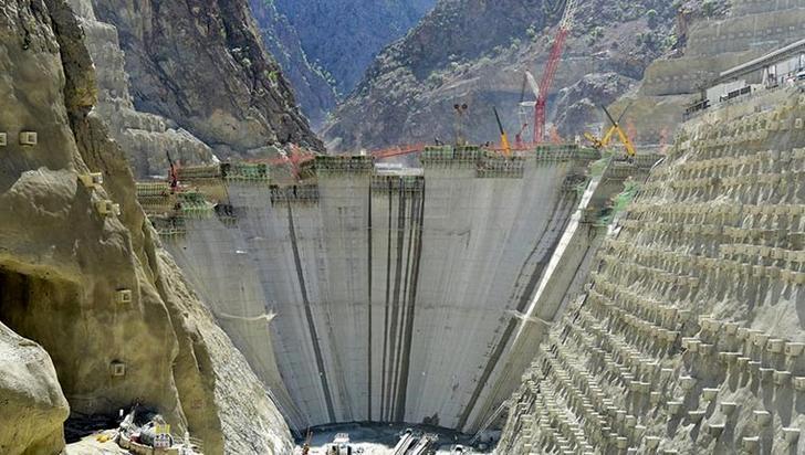 Yusufeli Barajı gövde yüksekliği 184 metreye ulaştı