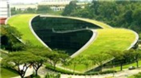 Nanyang Teknik Üniversitesi'nin kıvrımlı çatısı dikkat çekiyor