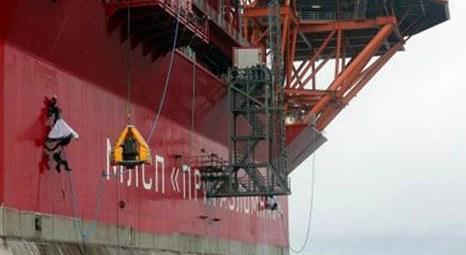 Greenpace protesto için, Gazprom'un Prirazlomnaya petrol arama platformuna tırmandı!