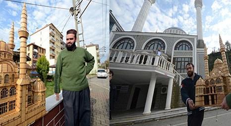 Trabzon Sürmeneli Enver Topal 41 bin kibrit çöpünden cami maketi yaptı!
