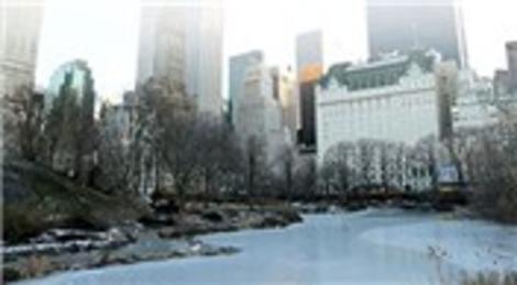 New York Central Park'ın gölleri dondu
