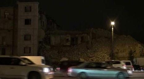 Bakü'de kentsel dönüşüm kapsamında yıkım çalışması yapılan bina çöktü