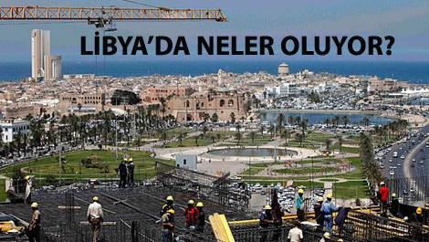 Libya'da bir inşaatta çalışan işçiler