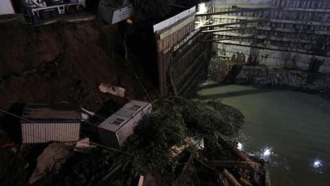 Sarıyer'deki yurt inşaatında toprak kayması!