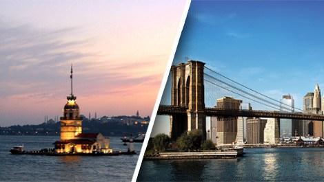İstanbul'daki Kız kulesi ve Brooklyn'deki meşhur köprü