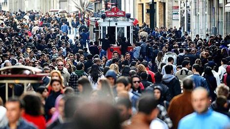 istiklal caddesinde tramvay ve kalabalık