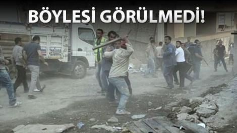 Erzurum'da inşaat işçilerinin taşlı sopalı kavgası!
