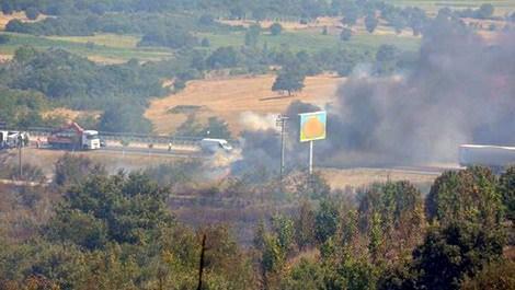 Bursa'da reklam tabelası asarken çıkan orman yangını