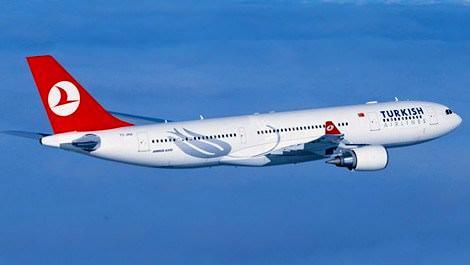 Havada Türk Hava Yolları'na ait uçak