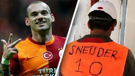 Sneijder ve Sneijder 10 yazılı yeleğini sosyal medyada paylaşan inşaat işçisi