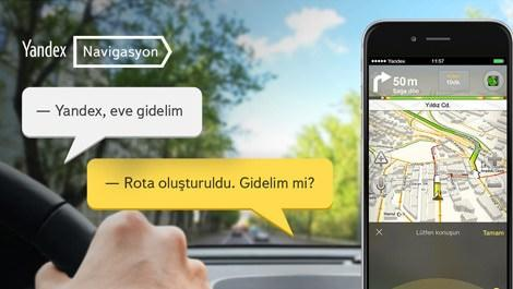 yandex navigasyondaki sesli komutu gösteren resim