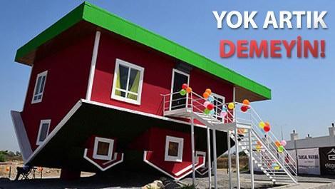 Antalya'da bordo renkli ters ev