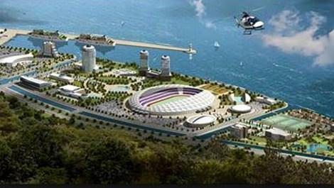 tokinin trabzonspora inşa ettiği akyazı stadyumunun havadan görünümü
