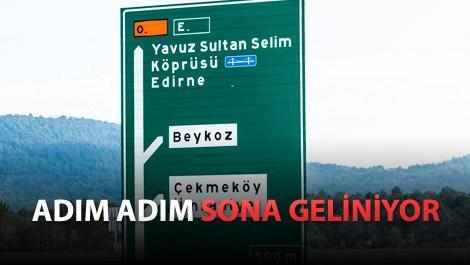 yavuz sultan selim isimli 3. köprünün yön tabelası