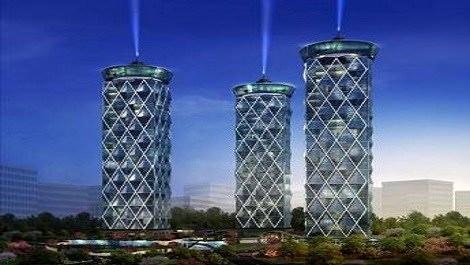 3 bloktan oluşan velvet towers'ın görüntüsü
