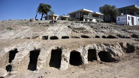 Bodrum'da inşaat alanında ortaya çıkan antik mezar