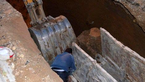 Kanalizasyon inşaatında göçük