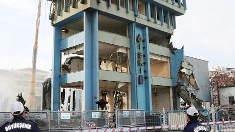 Aksaray'daki İSKİ binasının yıkımı tamamlandı