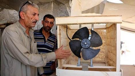 """Sıcaktan bunalan Suriyeliler """"vantilatör klima"""" yaptı"""