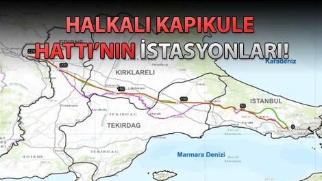 Halkalı Kapıkule Demiryolu Hattı projesinin güzergahları