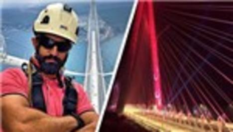 Yavuz Sultan Selim Köprüsü'nü dağcılar ışıklandırıyor