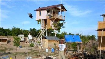 Ceviz ağacına iki katlı ahşap ev yaptı!