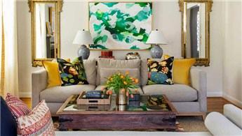 Sıcacık bol desenli salon dekorasyon fikirleri