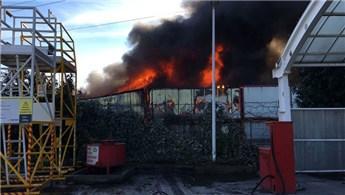 Bursa Nilüfer'de inşaat şantiyesinde yangın çıktı!